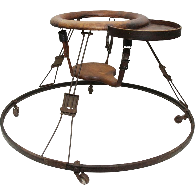 Antique wood and iron baby walking trainer seat