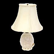 Vintage 1960's white milk glass table lamp