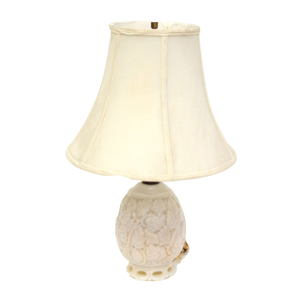 Elegant Vintage 1960u0027s White Milk Glass Table Lamp