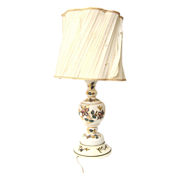 Pretty vintage floral glass lamp with white shade