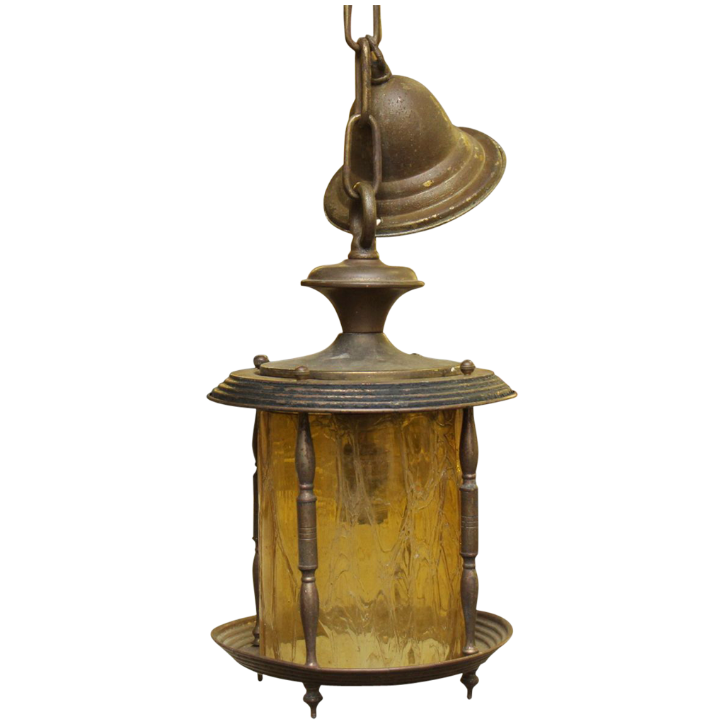 Hanging lantern light with amber colored glass