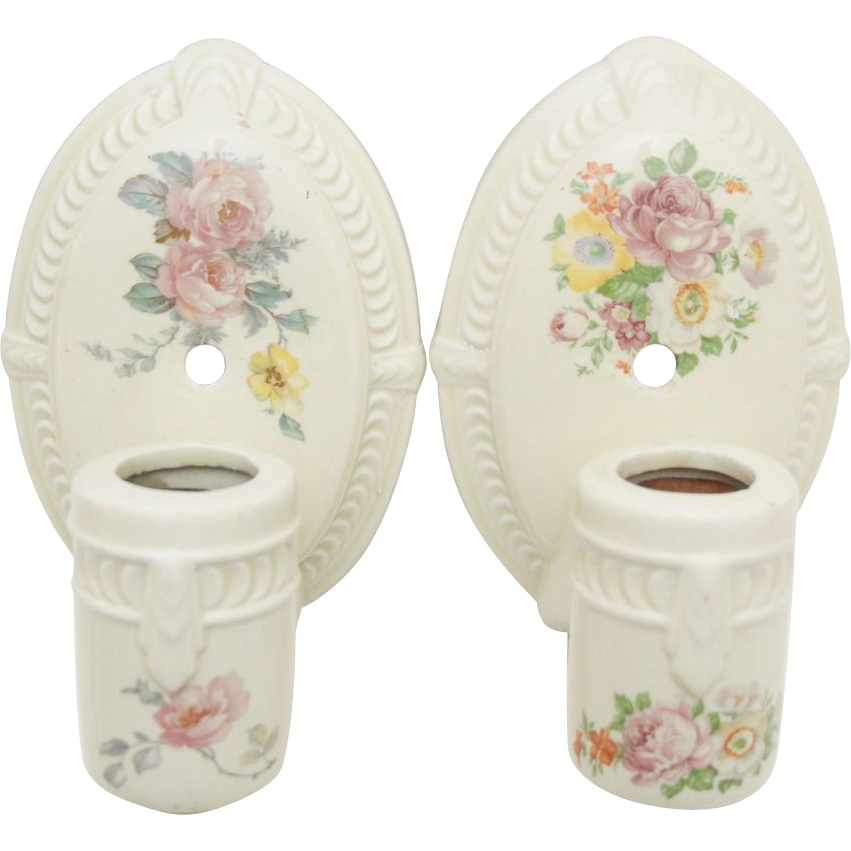Pair of pretty 1930's floral porcelain bathroom sconces