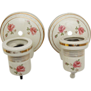 1930's Porcelain sconces with gold and floral design
