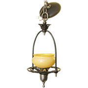Original 1930's Art Deco bronze and nickel pendant light with custard glass