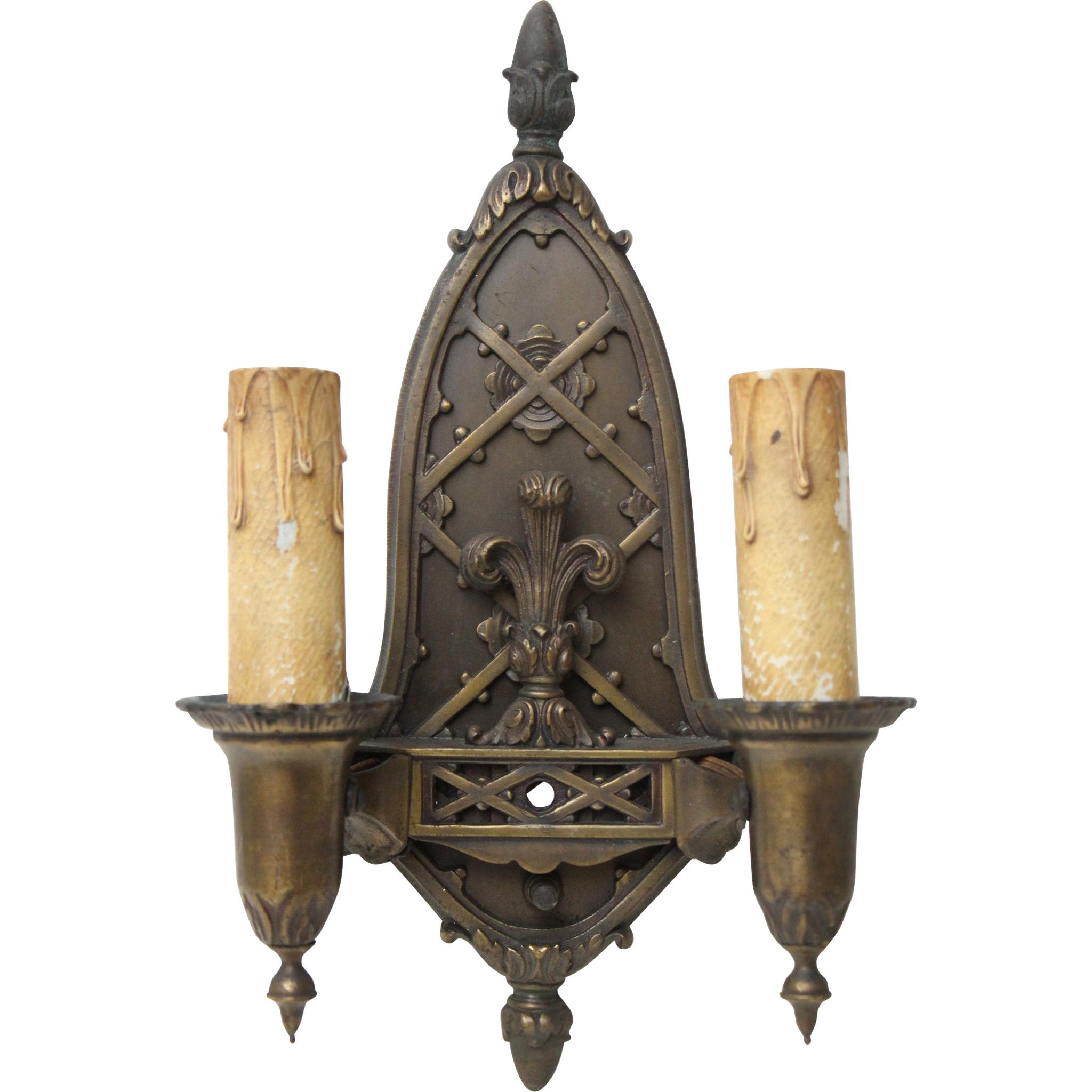 Cast bronze highly ornate double arm sconces