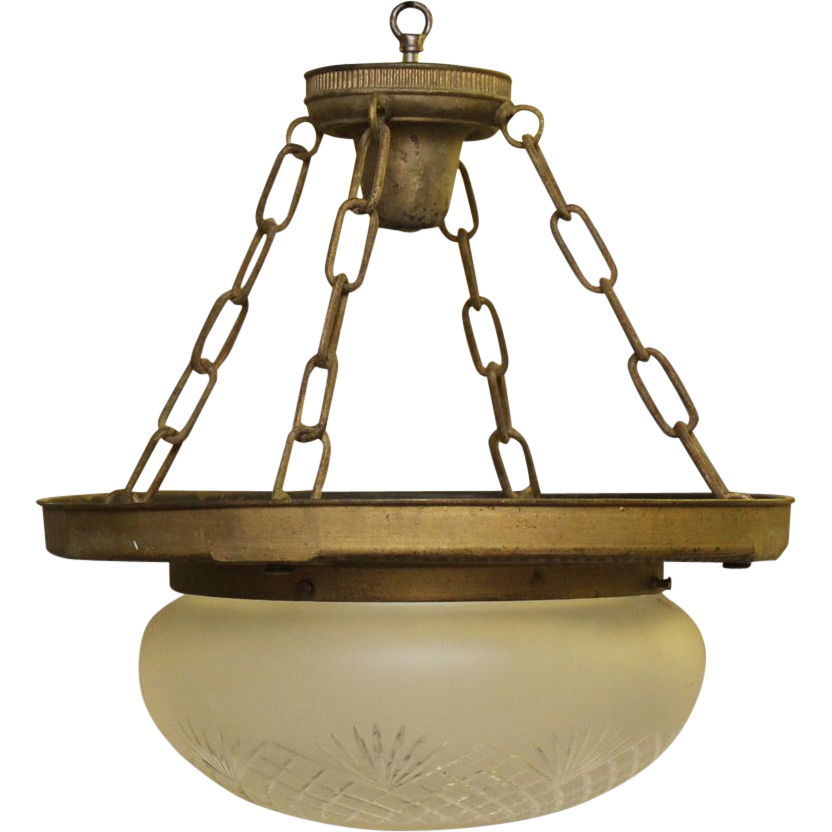 Turn of the century etched dome glass hanging pendant light with brass fixture