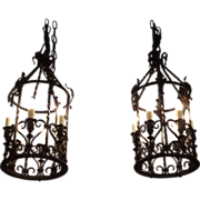 1920's French wrought iron lanterns with bronze details