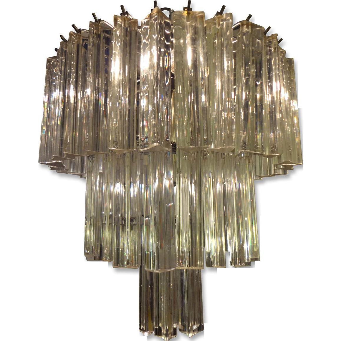 1970's Venini three tier crystal chandelier