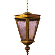 Hanging brass lantern light with purple hammered glass