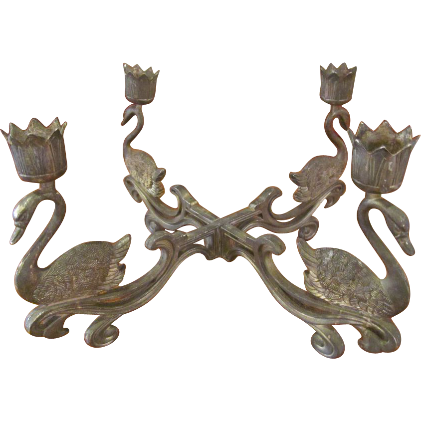 Steel swan four stick candle holder