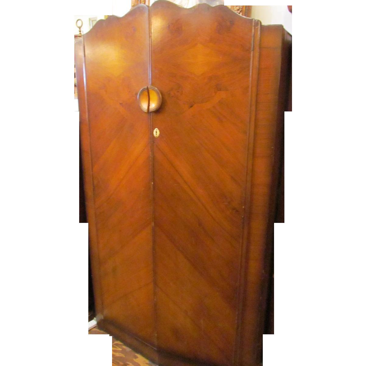 Art deco wooden walnut veneer armoire