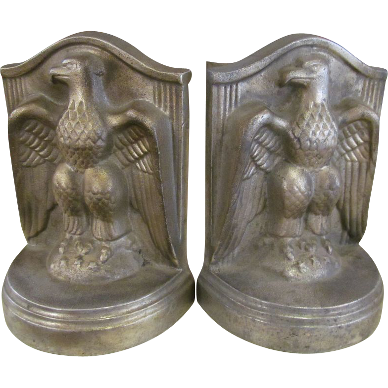 Solid iron bald eagle book ends