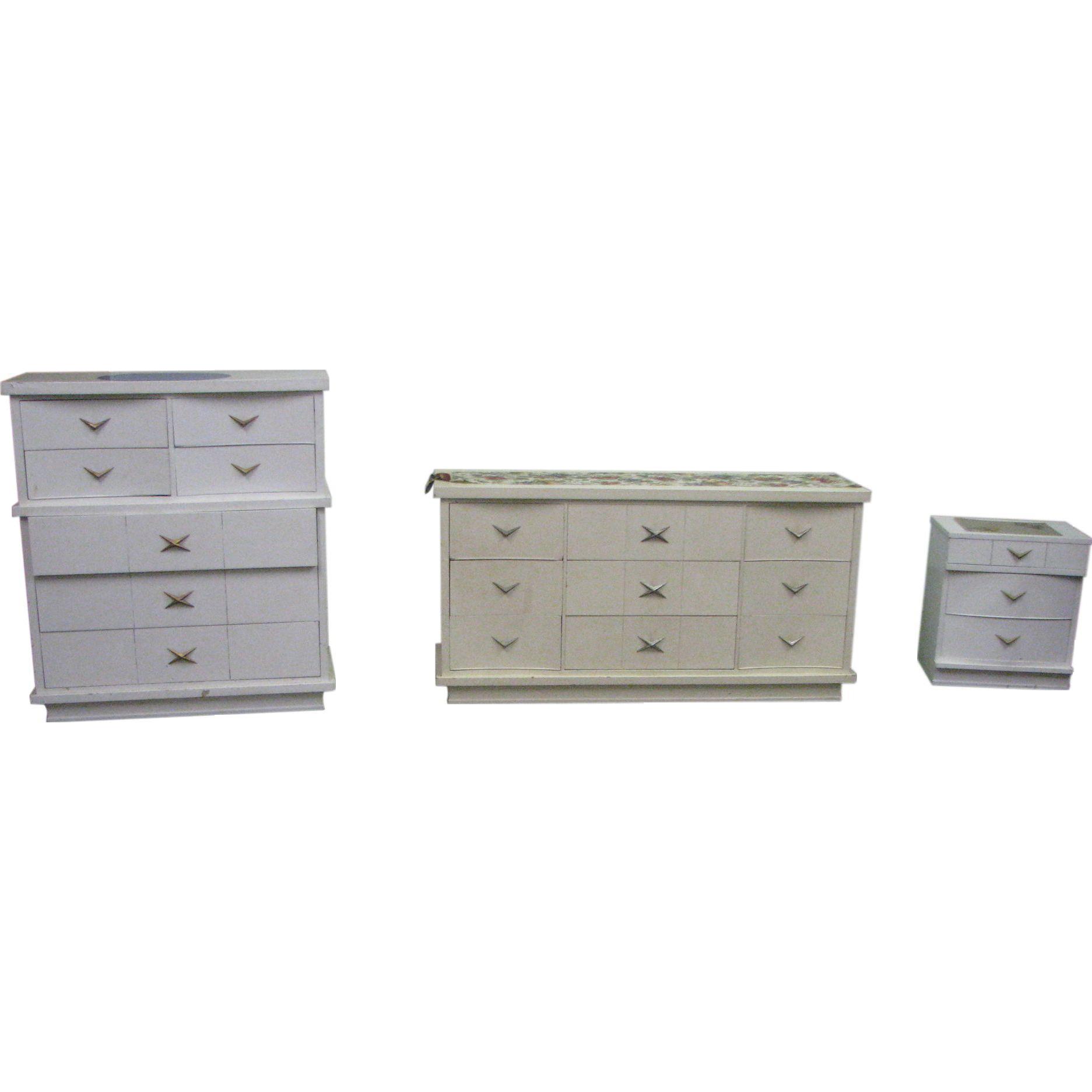 1970's White dresser set