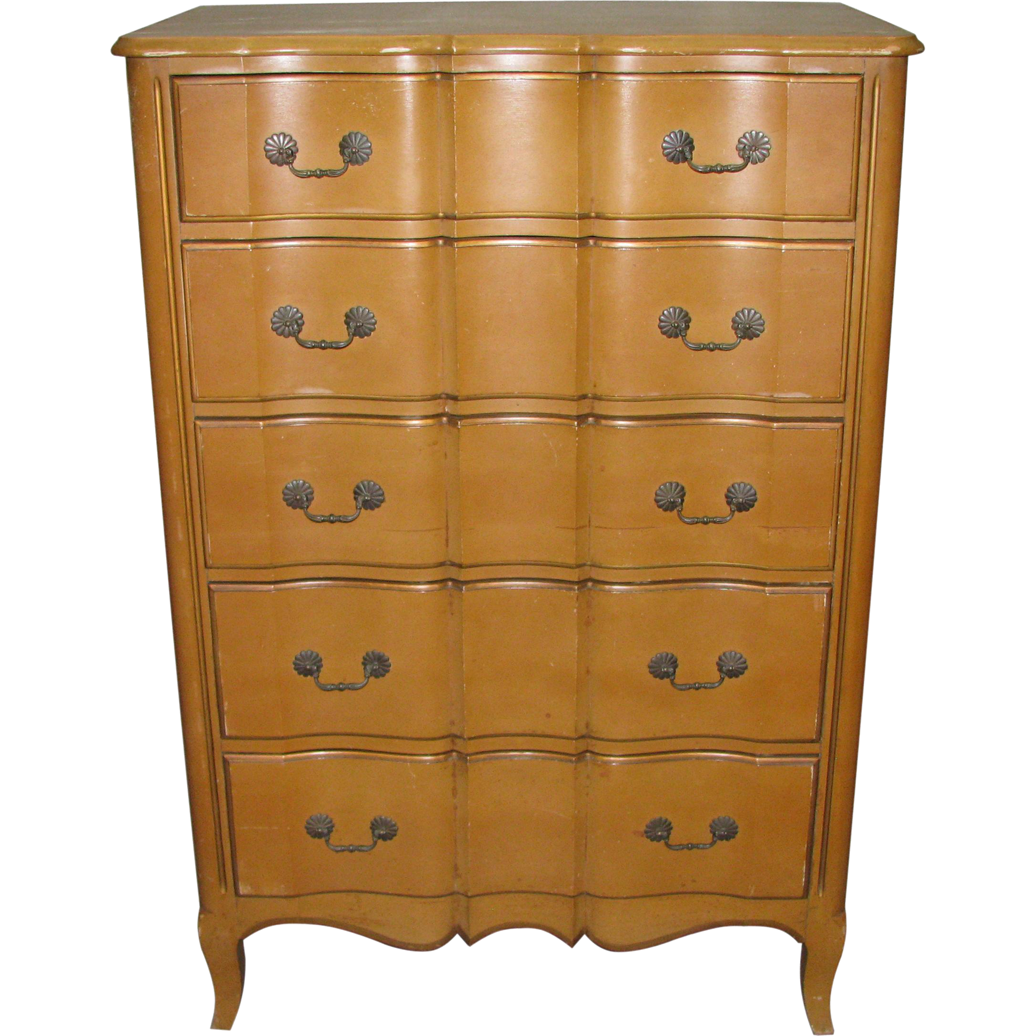 French provincial wooden dresser with warm finish