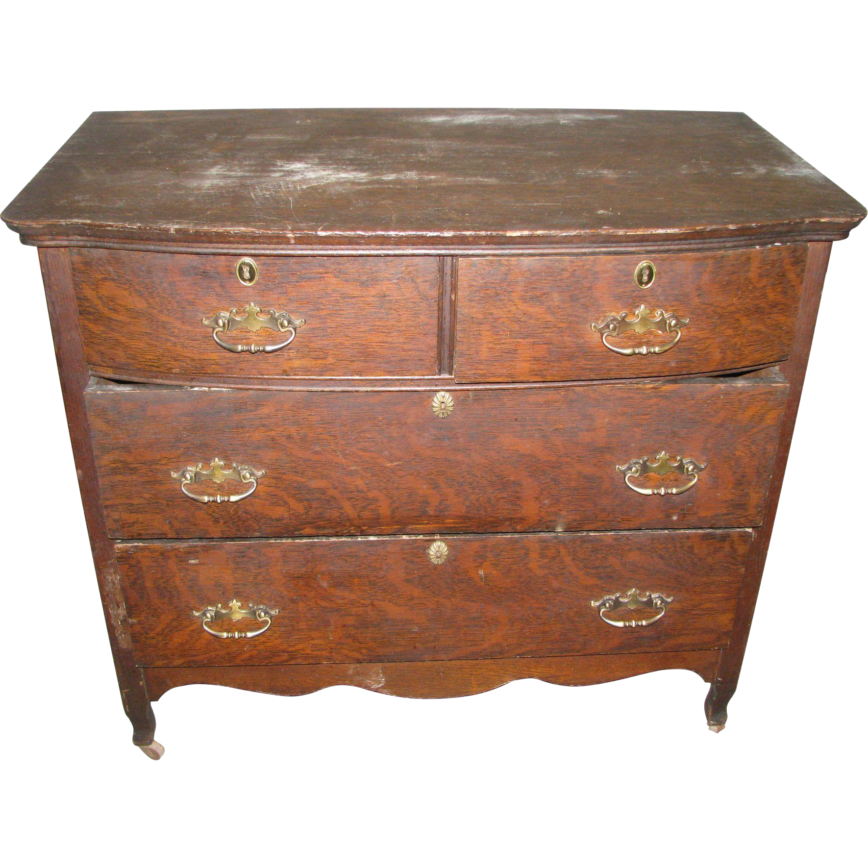 Vintage tiger oak low dresser