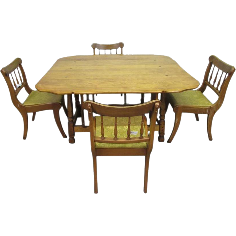 Large rock maple dining table and chairs set