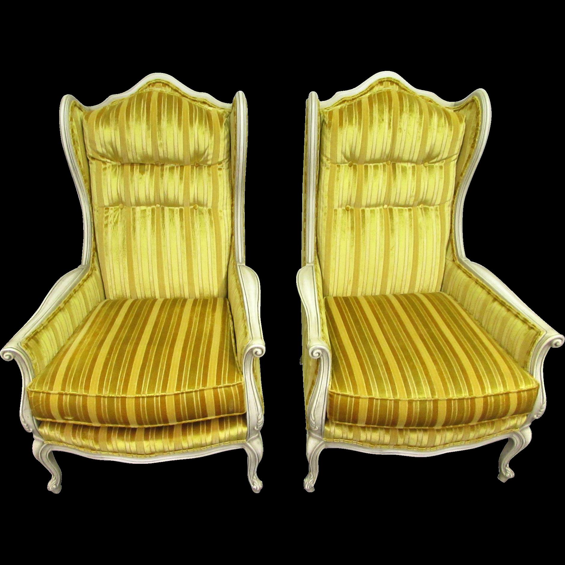 Pair of yellow velvet Art Nouveau chairs