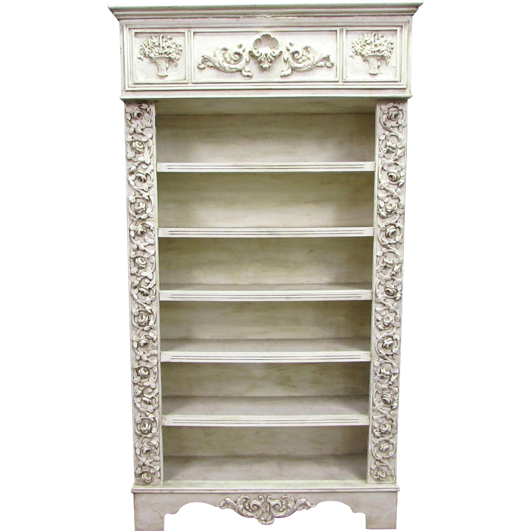 Antique wooden carved floral bookcase with gesso details