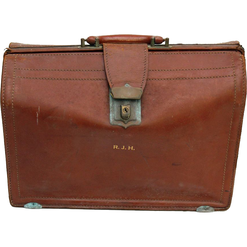 Small vintage burgundy briefcase