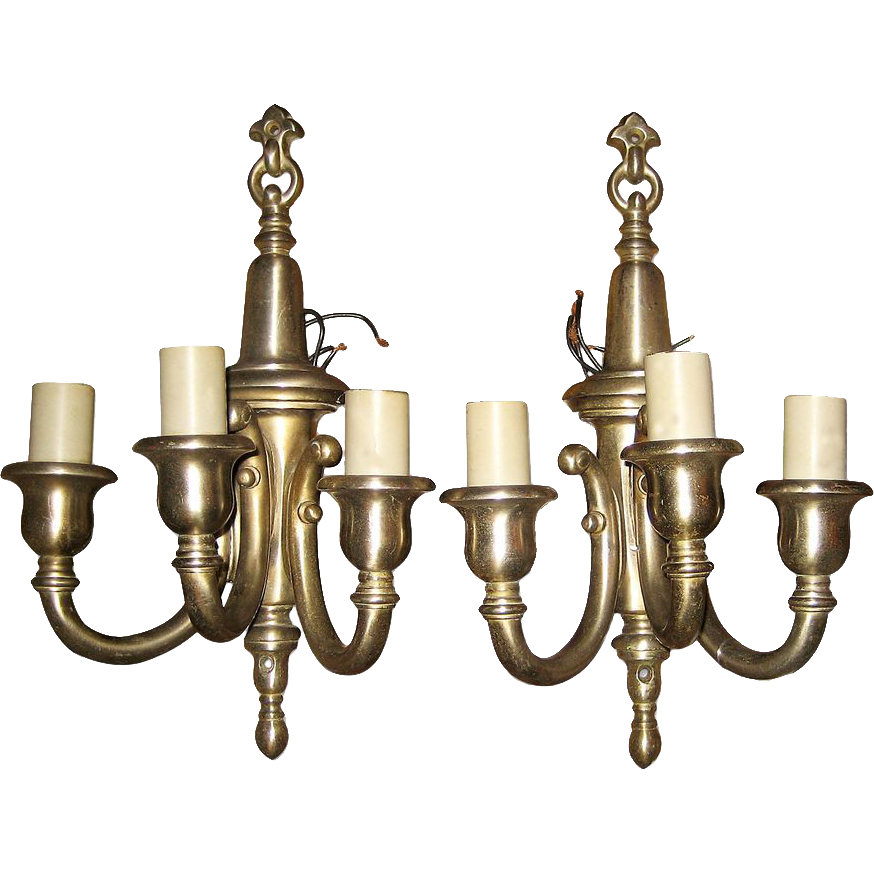 Wall Sconces Bronze Finish : Nickel finish over bronze wall sconces from oldegoodthings on Ruby Lane