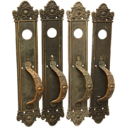 Classic Victorian bronze entry door pull set