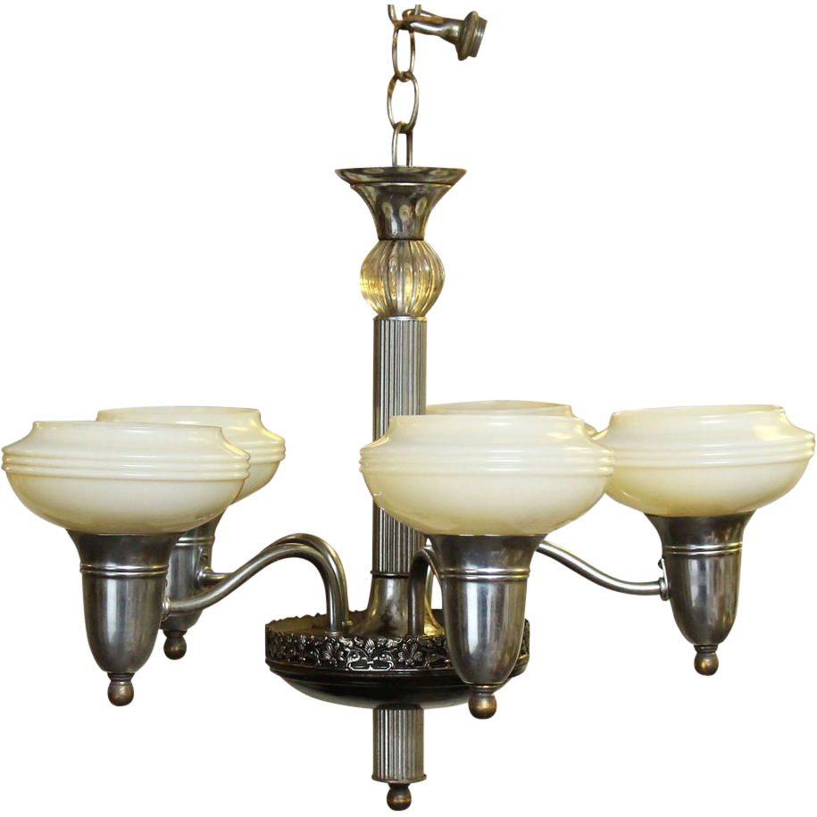 Vintage five arm chandelier with glass shades