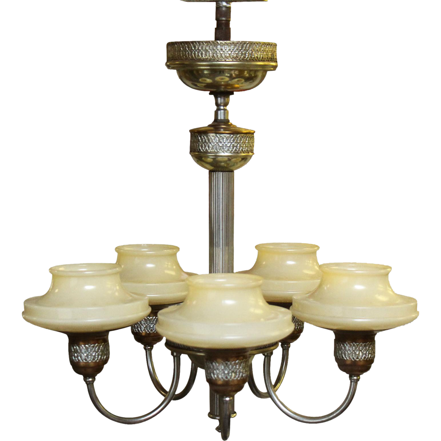 Pretty five arm ornate chandelier with glass shades