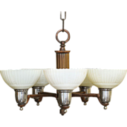 Five arm Art Deco chandelier with scallop glass shades