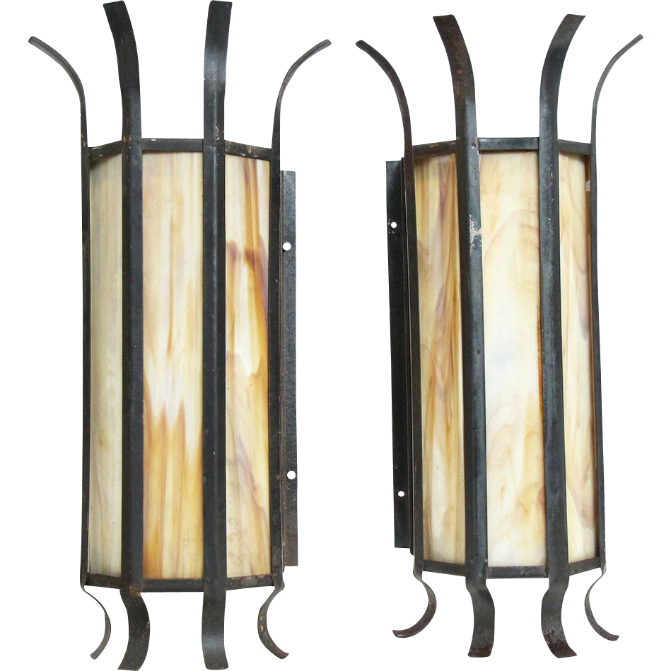Large stained glass iron wall sconce