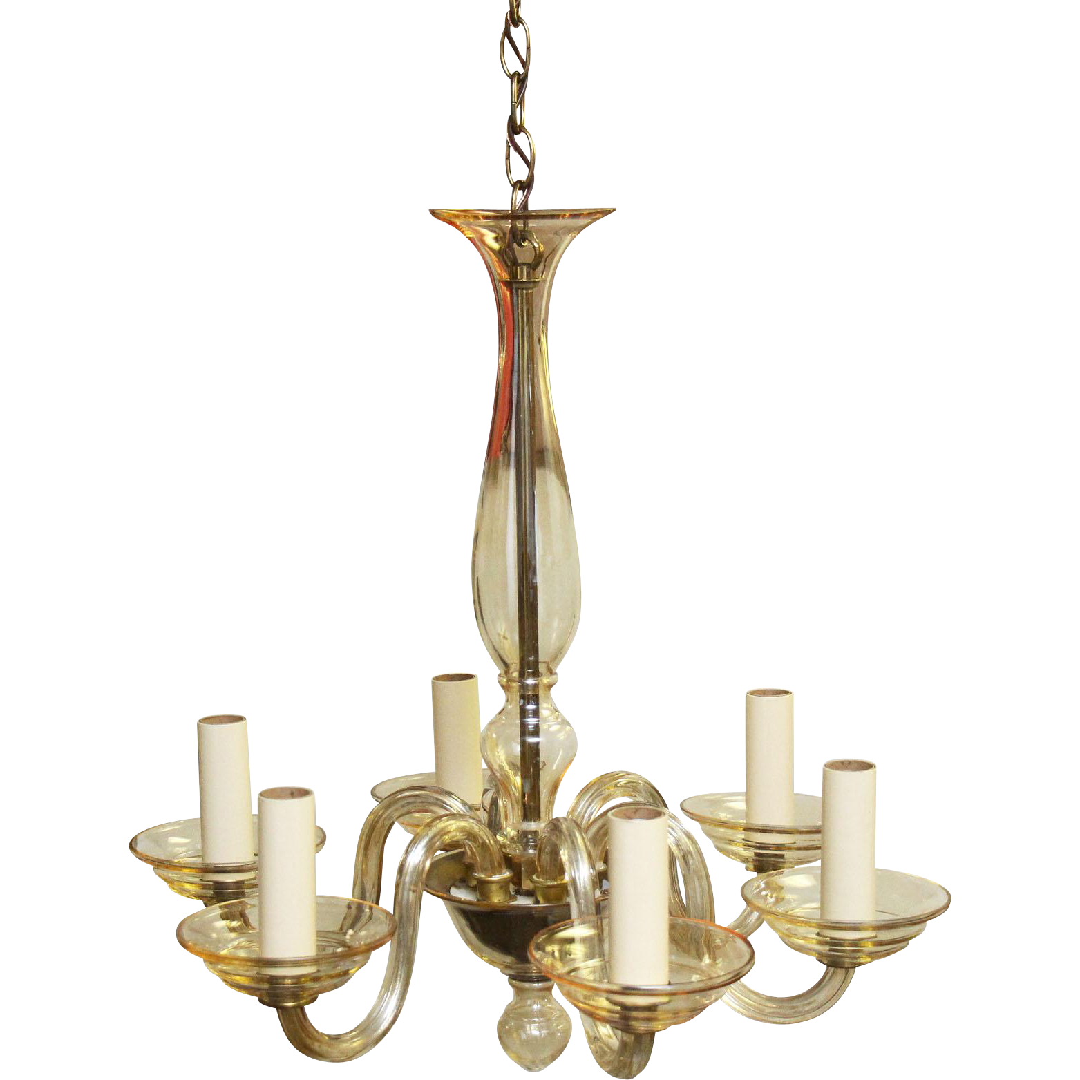 Six light glass chandelier with two bulb bottom
