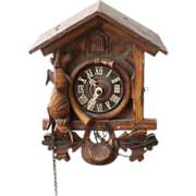 Vintage hand carved wooden cuckoo clock