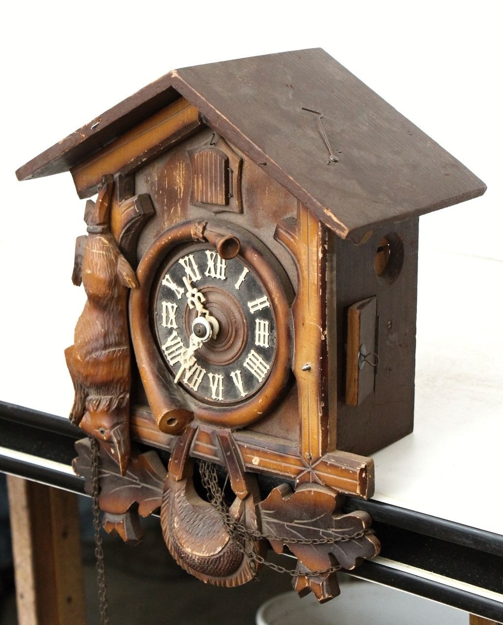 Vintage hand carved wooden cuckoo clock from - Wooden cuckoo clocks ...