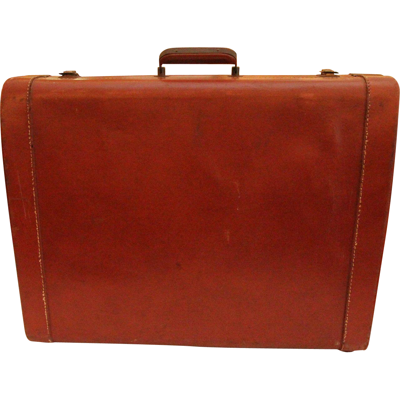 Vintage leather suitcase with decorative stitching
