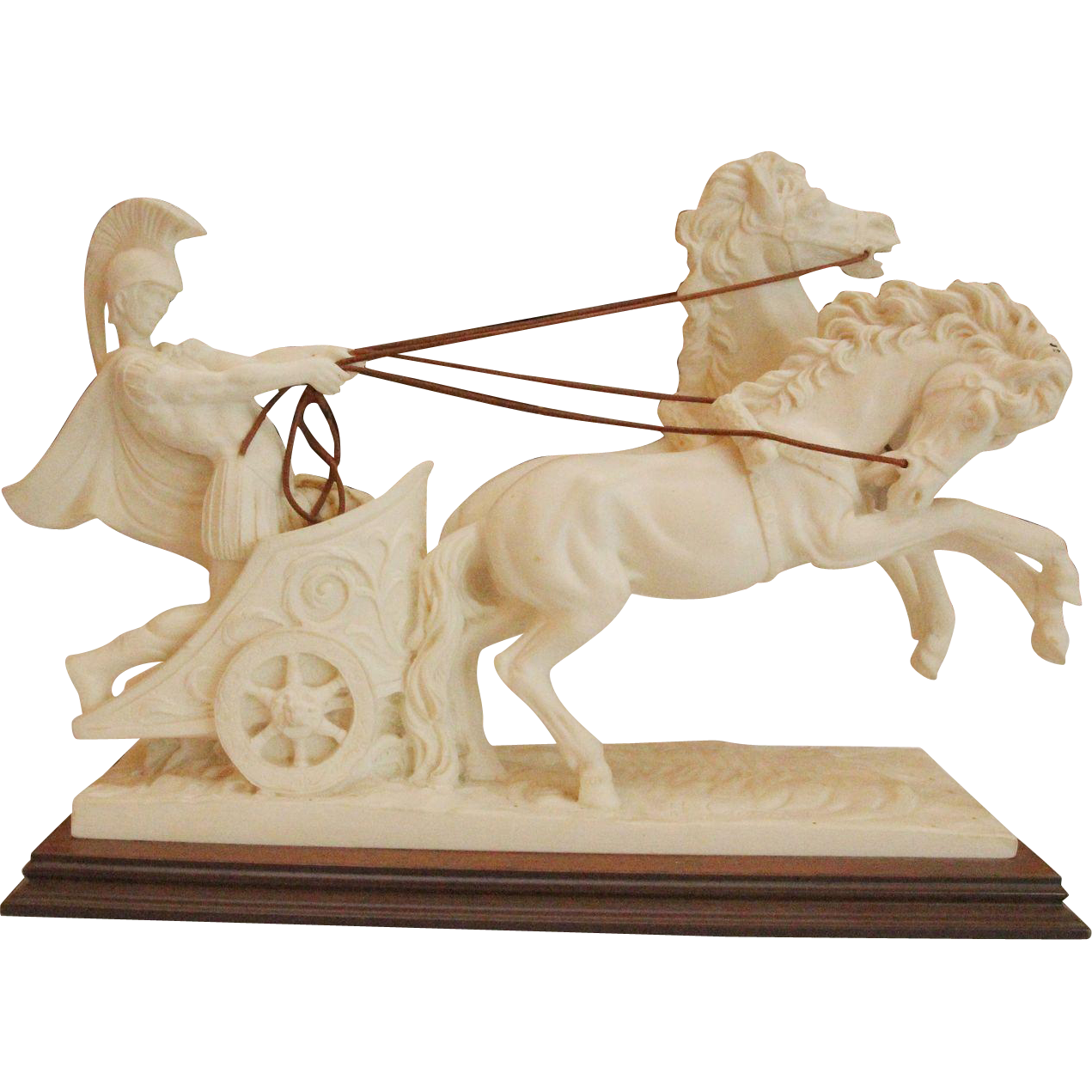 Statue of Roman warrior on horse chariot