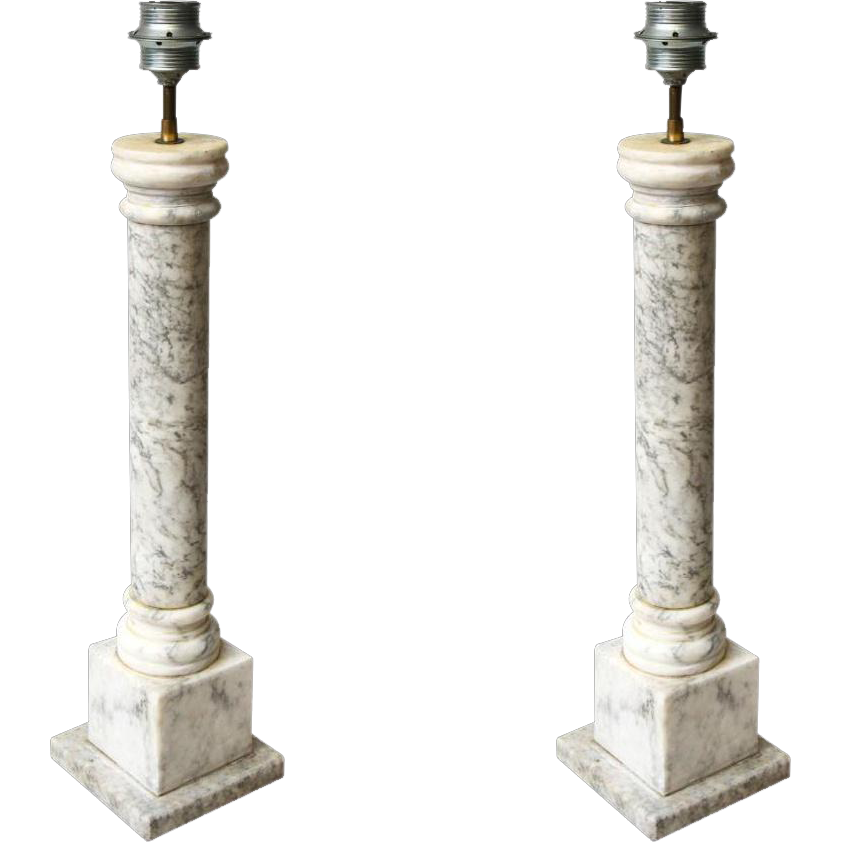 Simply designed carrera antique marble lamps
