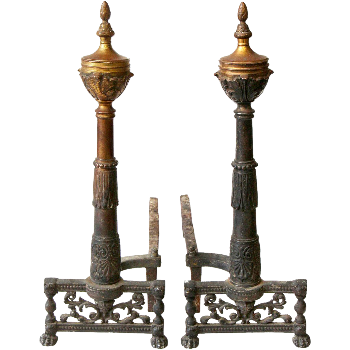 Pair of Early American steeple andirons