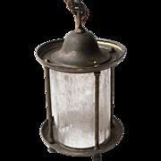 Brass lantern with textured glass