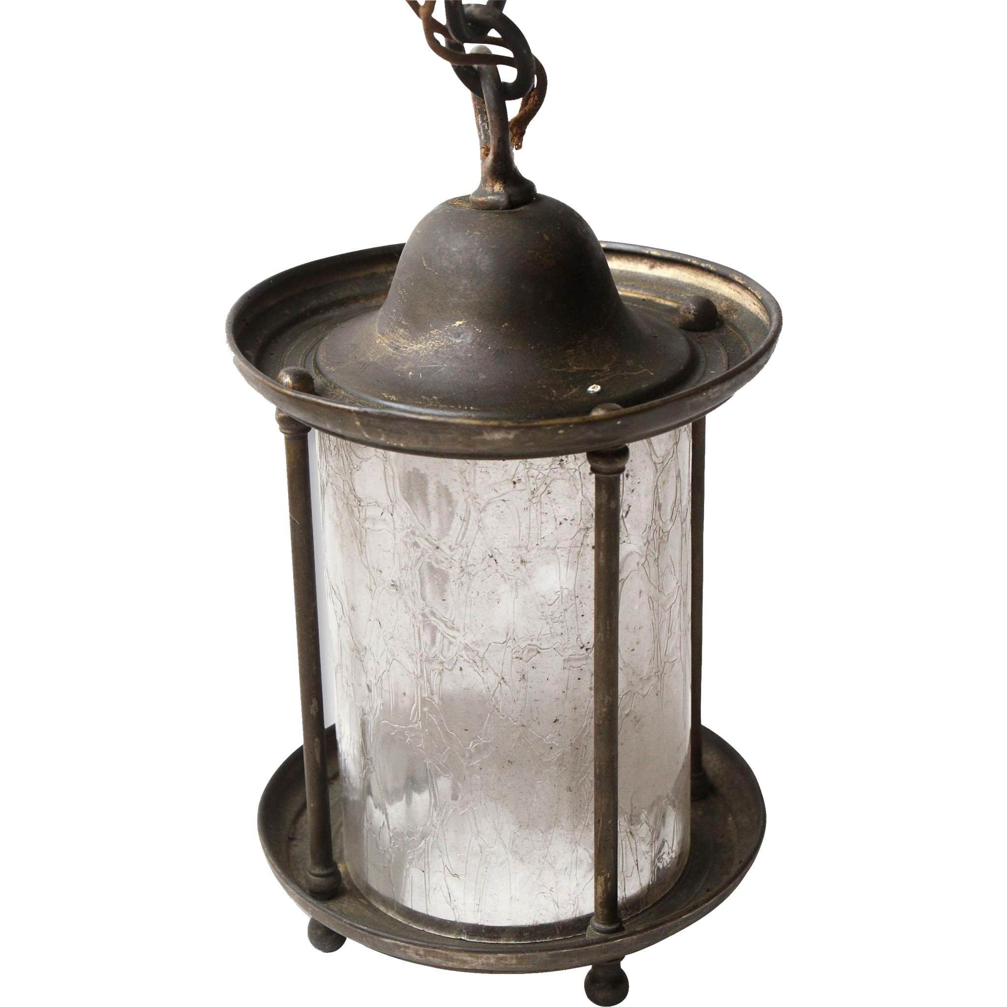 Brass lantern with textured glass