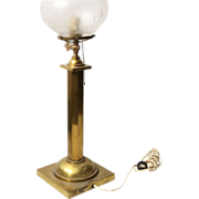 Brass table lamp with round etched glass shade