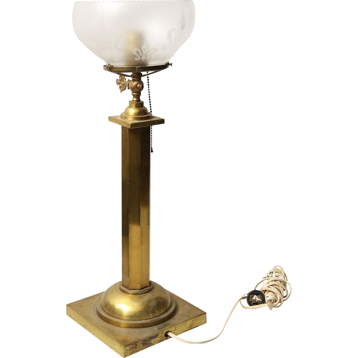 brass table lamp with round etched glass shade from. Black Bedroom Furniture Sets. Home Design Ideas