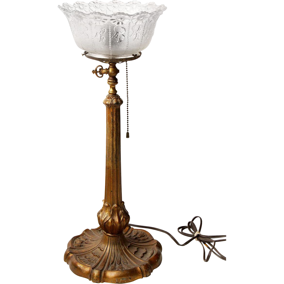 Original iron converted table lamp with floral shade