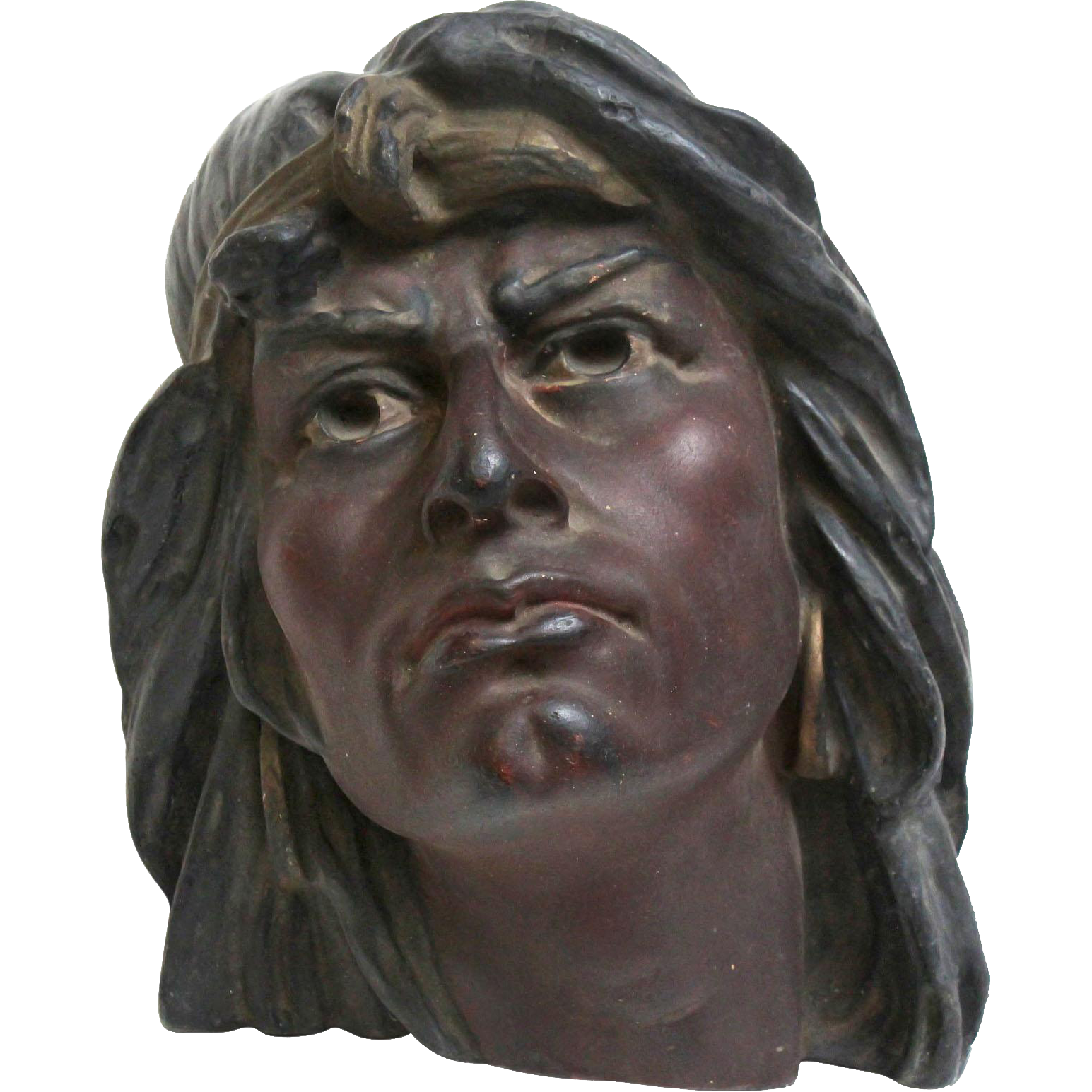 Hand painted antique plaster Indian head