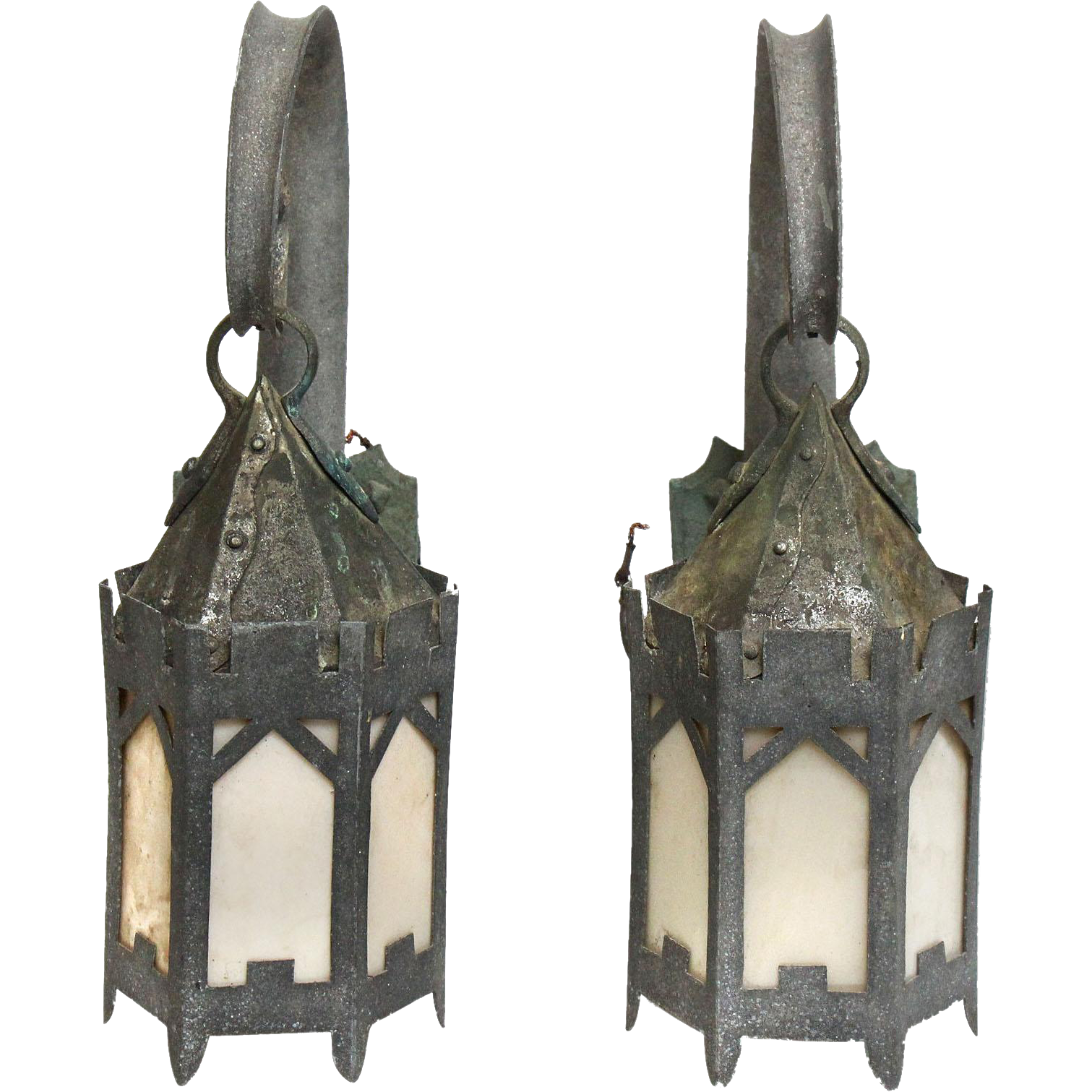 Pair of lantern sconces with brackets
