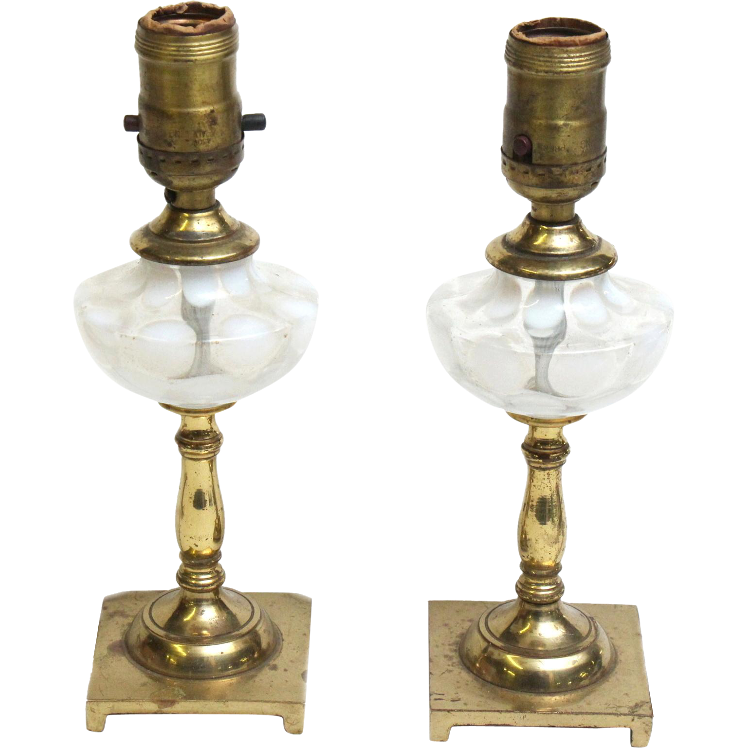 Small brass and glass table lamps