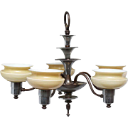 Five light Art Deco fixture with glass shades