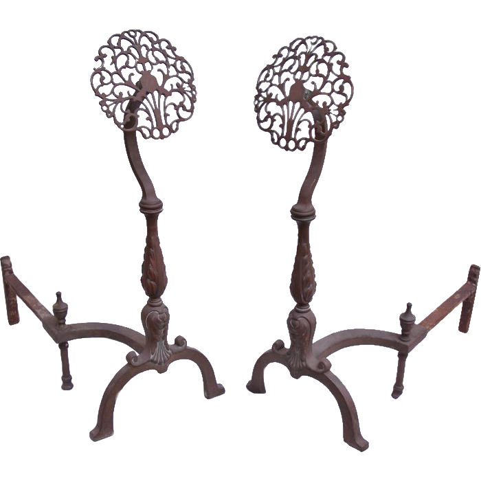 Pretty pair of floral bronze andirons