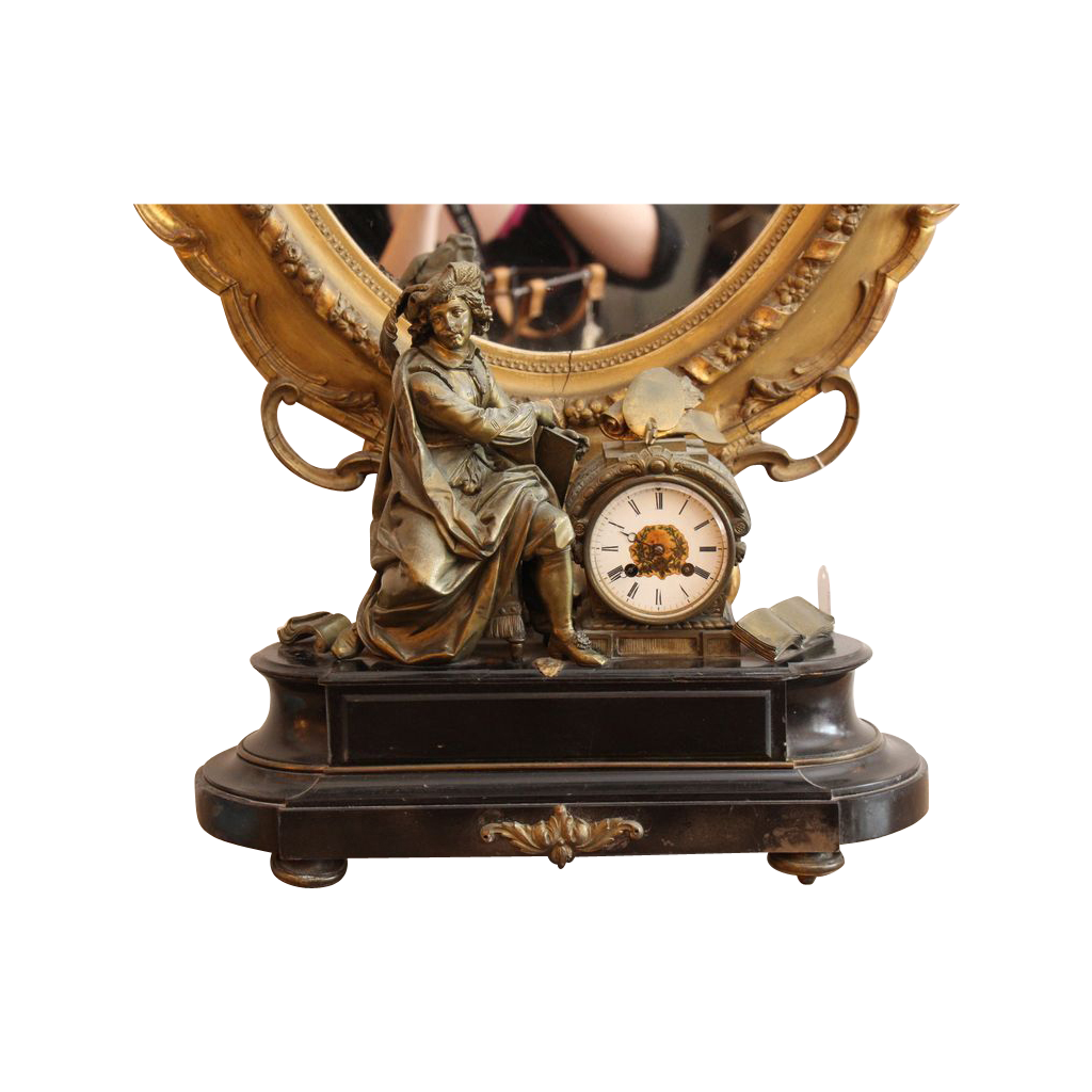 Figural mantel clock with bronze parts