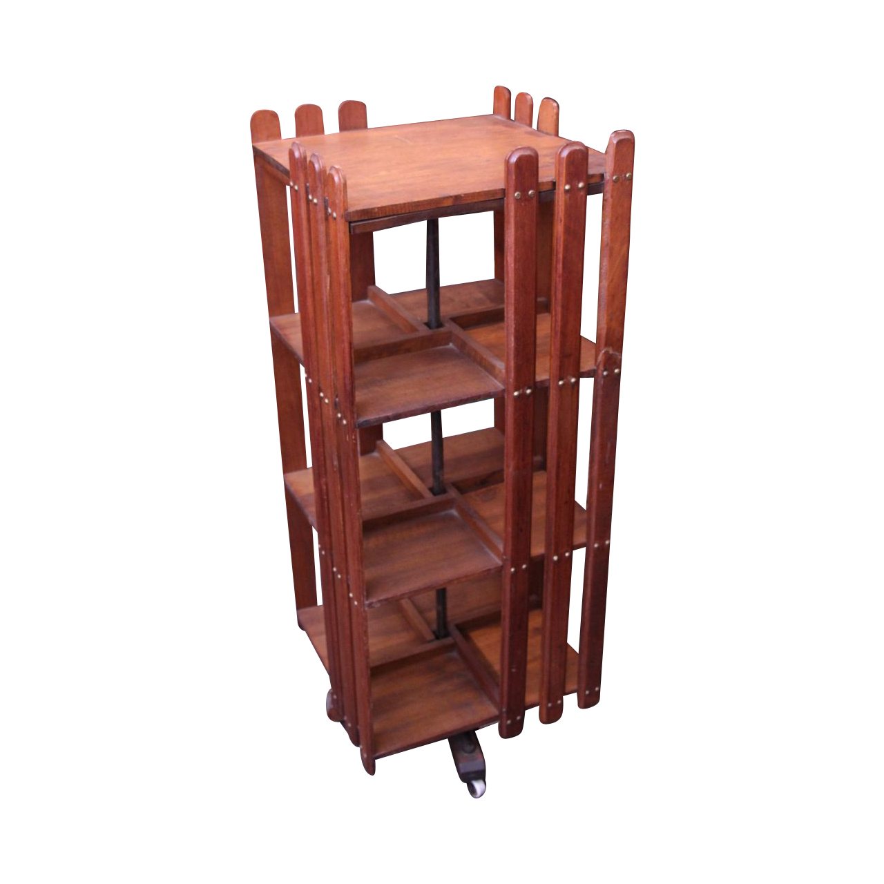 Arts & Crafts revolving wooden bookcase
