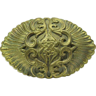 Collector's Quality Brass Highly Ornate Oval Knob