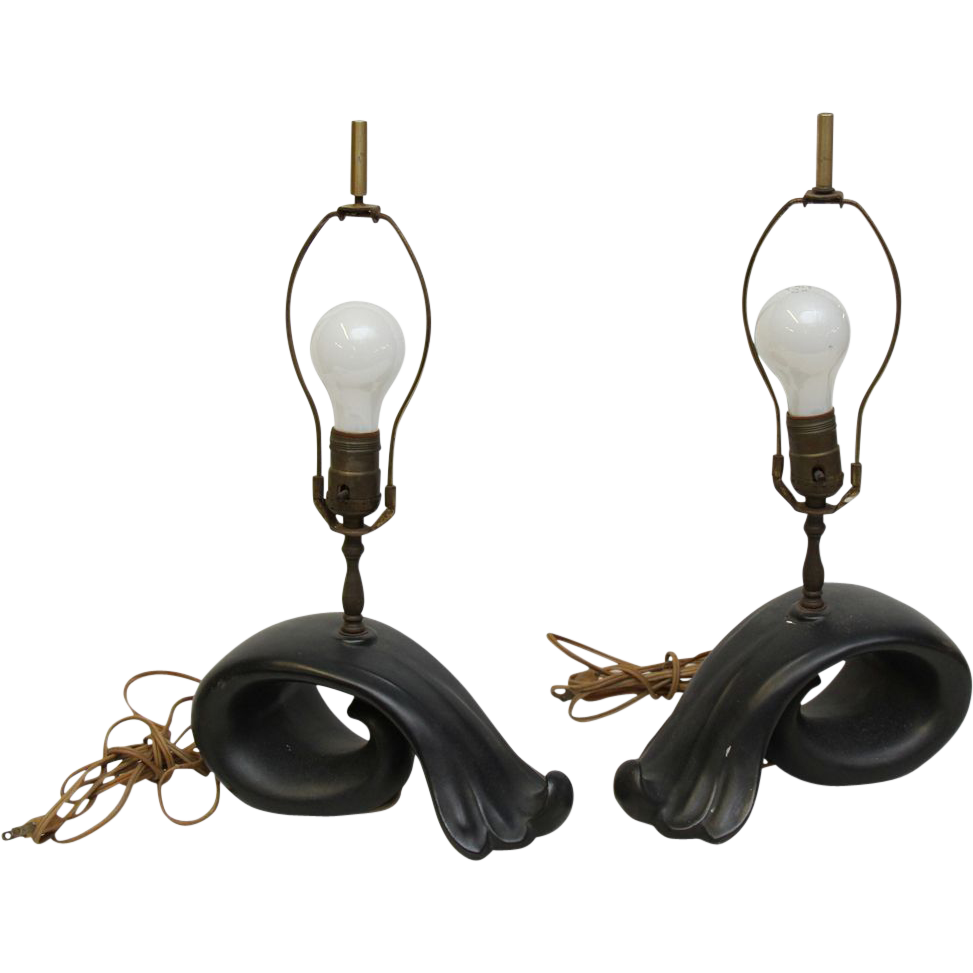 Black ceramic 1950's lamps